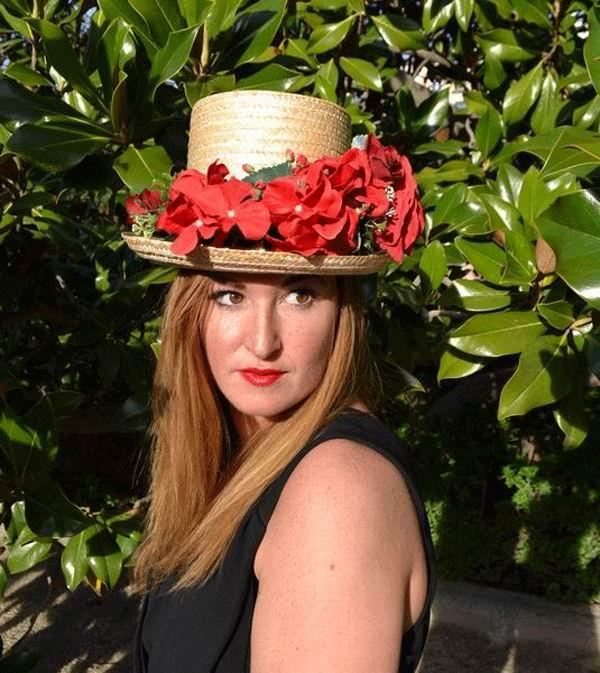 Laura Top Hat. Straw with Red Flowers Black Ribbon