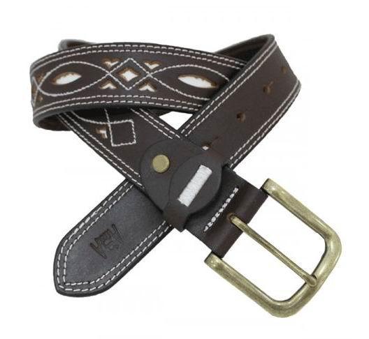 Cinturón de Hombre en Cuero Picado con adornos y Hebilla c075c2d1bf3