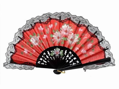Hand painted wood fan with black lace