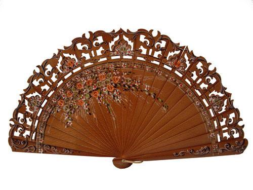Hazelnut Colour Hand Painted Fan