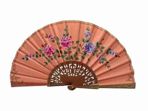 Salmon Colour Fabric Fan with Hand Painted Flowers and Polished Pear Wood Lace Ribs. 45X25cm