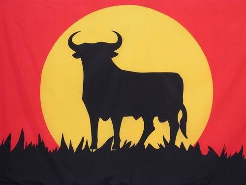 Drapeau taureau et couch de soleil - Dessin de toro ...