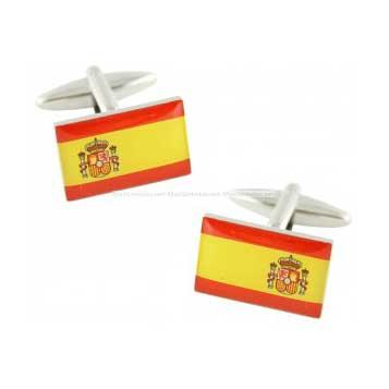 Cufflinks Spanish Flag with National Coat of Arms