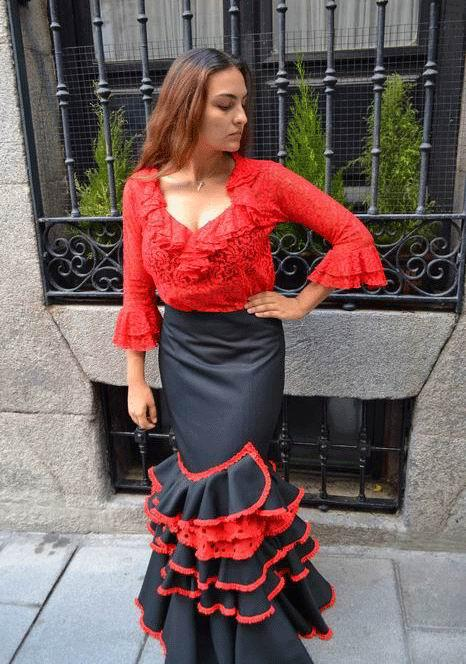 Red Lace blouse with a V-shaped Neckline and Ruffle