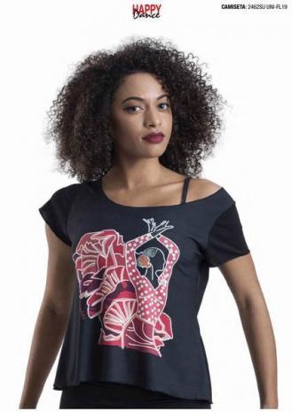 Camiseta Negra con Estampado para Ensayo. Ref. 2462SUUNI-FL19 f9ee457d22d