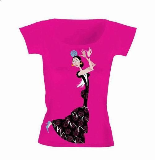 T shirt fuchsia avec dessin d 39 une danseuse flamenca - Dessin d une danseuse ...