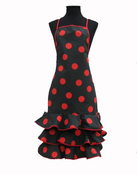 Black Flamenco Apron with Red Dots