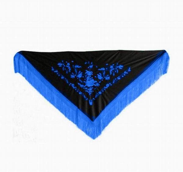 Black Triangular Shawl Embroidered in Blue. 160cm X 70cm