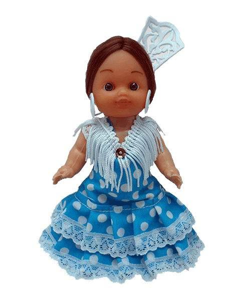 Flamenca Doll with Comb and Blue Dress with White Polka dots. 15cm