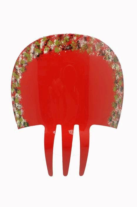 Red Acetate Comb with Hand-painted Flowers