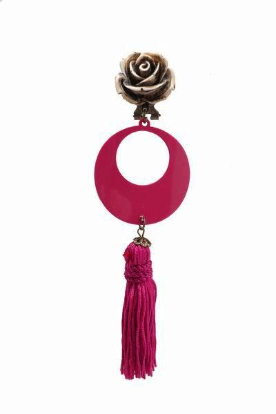 Fuchsia Earrings with a Fringe and Beige Flower