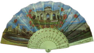 Plastic fan with golden details