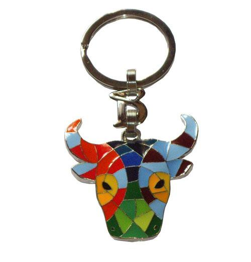 Key ring with multicolor and mosaic headed bull