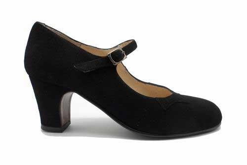 Black Suede Flamenco Shoes. Basic Model By Begoña Cervera