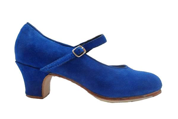 Deep Blue Suede Semi Profesional Flamenco Shoes Mercedes.  Flamencoexport