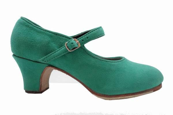 Green Suede Semi-Profesional Flamenco Shoes Model Mercedes
