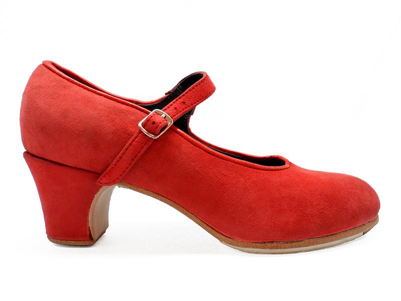 Red Suede Semi-Professional Flamenco Shoes Mercedes. Flamencoexport